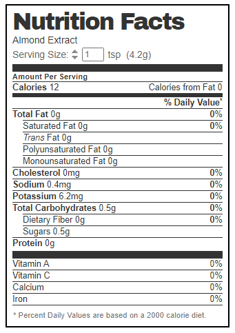 almond extract nutrition facts